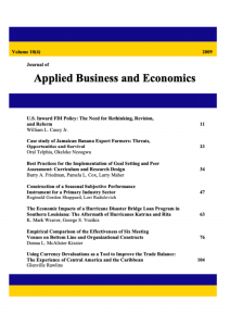 Journal of Applied Business and Economics